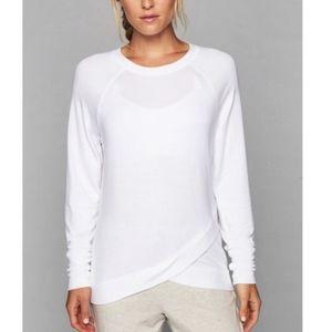 Athleta Soft White Criss Cross Long Sleeve Sweater